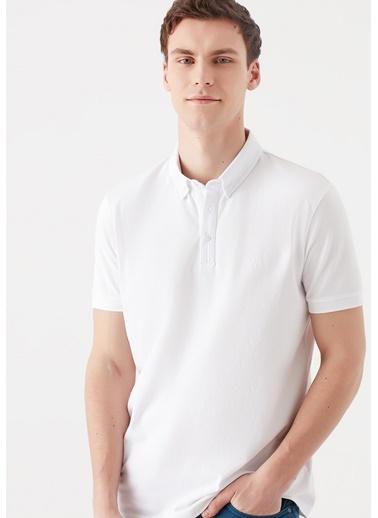 Mavi  Polo Tişört Beyaz